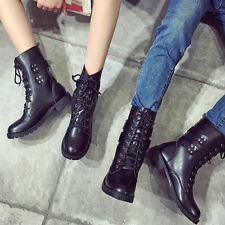 Ladies Women Mid Lace Up Shoes Ankle High Flat Heel Cowboy Combat Military Boot
