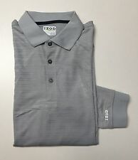 Men's Golf IZOD Performance Textured Stripe Long Sleeve Polo Collar shirt NWT