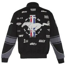 Authentic Mustang Racing Collage Embroidered Cotton Jacket JH Design Royal Blue