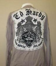 ED HARDY mens M L gray button front tiger dress shirt cotton club wear NEW