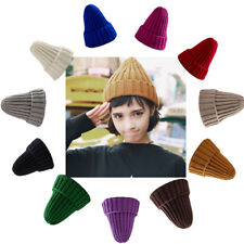 Women Candy Color Lambs Wool Polo Color Beanie Skull Cap Knit Winter Hat Hip Hop