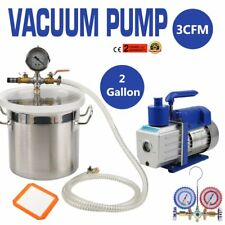 2 Gallon Stainless Steel Degassing Vacuum Chamber 3CFM Vacuum Pump USA SK
