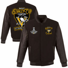 2017 Stanley Cup Champions Pittsburgh Penguins Wool Leather Jacket Reversible