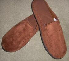Men's Totes Isotoner Dk BROWN Microsuede Slipper Lt Wt Sturdy Sole Medium 8-9