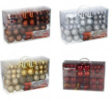 Pack of 100 Christmas Tree Decorations Christmas Baubles Gold Red Silver Brown