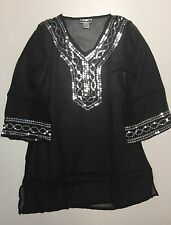 Women's Black Semi Sheer Sequins Pool Beach Swimsuit Cover-up S-M-L-XL NWT