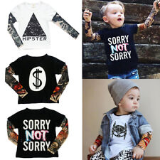 Baby Toddler Kid Boys Girls Tattoo Print Long Sleeve T-shirts Tops Tee Cotton