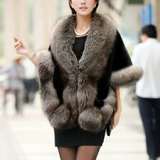 Women Faux Fur Winter Warm Shawl Cloak Cape Coat Lady Wedding Jacket Wrap Stole