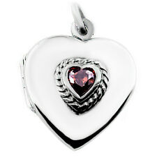 Heart Shaped Sterling Silver Locket Set with a Heart Shaped Real Garnet