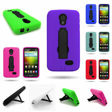 Tough Kickstand Dual Layer Rugged Hybrid Phone Cover Case for LG Lucid 3