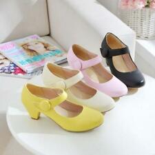 Womens Pumps Low Heels Sweet Ankle Strap Mary Jane Shoes Plus Size Fashion New^^