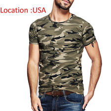 Men's T Shirt Camouflage Crewneck Short Sleeve Slim Cotton Basic Tee M L XL XXL