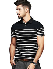 Mens Polo Shirt 100% Cotton Striped Slim Short Sleeve Lapel Basic Tee M L XL XXL