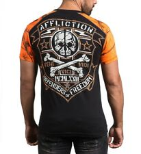 Affliction Defenders Mens t Shirt - A14460 - Black and Orange Mens Graphic Tee