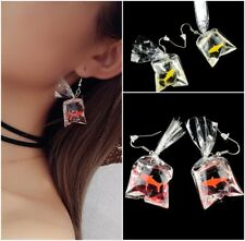 Novelty Cute Goldfish Water Bag Shape Dangle Hook Earrings Charm Women Jewelry
