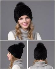 Mink Fur Hat Knitted Fur Hats Cape Fox Fur Cap Winter Warm Casual Occasion Daily