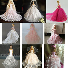 Fancy Tulle Dress Gown For Barbie Doll Bridal Evening Dress Clothes Party Accs