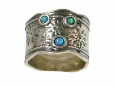 Designed 925 Sterling Silver Ring Shablool Band Blue simulated opal Jewelry