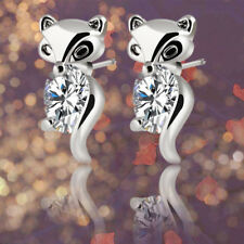 Classic Plated Silver Gold Fox Stud Earrings Animal Alloy Crystal Earring