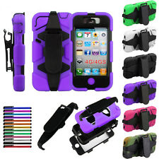 For Apple iPhone 4 4S Shockproof Holster Belt Clip Case Cover w/Screen Protector