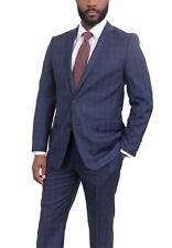 Mens Modern Fit Navy Blue Windowpane Two Button Super 140s Wool Suit