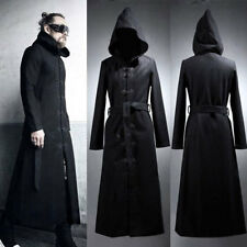 Mens Hood Parka Trench Coat Thicken Chinese Knot Button Gothic Wool Blend Jacket