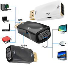 HDMI Male To VGA 1080p Female Video Converter Adapter W/Audio Cable For DVD HDTV