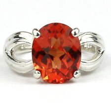 • SR361, 4.5 ct Created Padparadsha Sapphire Sterling Silver Ring -Handmade