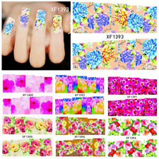 HH- Flowers Pattern DIY Nail Art Stickers Self-Adhesive Water Manicure Tool Late