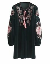 Long Bishop Sleeve Embroidered Shift Velvet Tunic Dress Short Casual Party