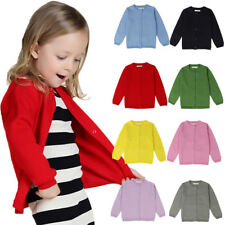 Kid Baby Girl Crew Neck Cardigan Button Knitted Uniform Sweater For Long Sleeve