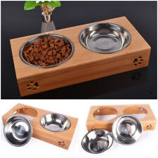 Pet Food Water Feeder Twin Bowls Dish 2 Raised Bamboo Stainless Steel Dog Feeder