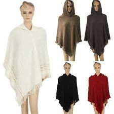 Women Boho Hoodie Cape Poncho Shawl Scarf Sweater Fringe Hooded Jacket Coat Tops