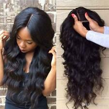 100% Natural Human Hair Full Lace Wig Glueless Lace Front Wigs For Women #1B HH