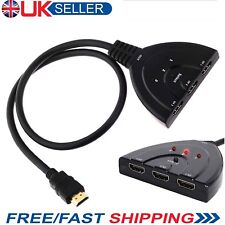 3 port hdmi  switch switcher spliter spllitter cable HUB for PS3 Xbox 360 UK