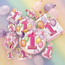 1st First Birthday Party, Pink Baby Girl, Tableware, Partyware, Decorations