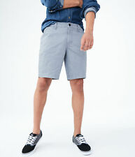 aeropostale mens geo print stretch flat-front chino shorts