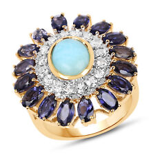 14K Yellow Gold Plated 925 Sterling Silver Genuine Multi Gemstone Wedding Ring