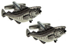 Cod Angling Fishing Rod Silver Pewter Fish Gift Cuff links By CUFFLINKS.DIRECT
