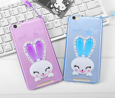 Cute Rabbit Ears Bracket Lanyard Protective Silicone Case Cover for iPhone 7 8 6