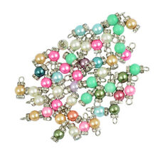 50pcs Imitation Pearl Rhinestones Alloy Charms Pendant Jewelry Findings DIY