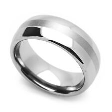 Men 8MM Comfort Fit Tungsten Carbide Wedding Band Satin Stripe Domed Ring