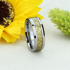 9MM Comfort Fit Tungsten Carbide Wedding Band Gold Tone Celtic Dragon Inlay Ring