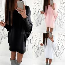 Fashion Women Batwing Sleeve Solid Casual Dress Plus Size Party Mini Dress C1Y4