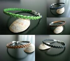 bracelet flat leather braid stainless steel clasp