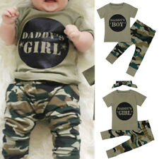 Newborn Baby Toddler Clothes Daddy's Boy/Girl Camouflage T-shirt+Pants Outfits