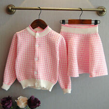 Toddler Kids Baby Girls Outfit Clothes Plaid Knitted Sweater Coat Tops+Skirt Set