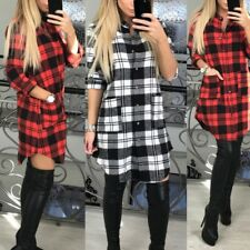Women's Long Sleeve Casual Plaid Shirt Dress Button Down Blouse Tops With Pocket