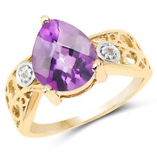 14K Yellow Gold Plated Genuine Amethyst & Diamond 925 Sterling Silver Ring