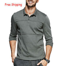 Mens Polo Shirts Long Sleeve Elasticity Lapel Solid Slim Fit Casual T-shirts